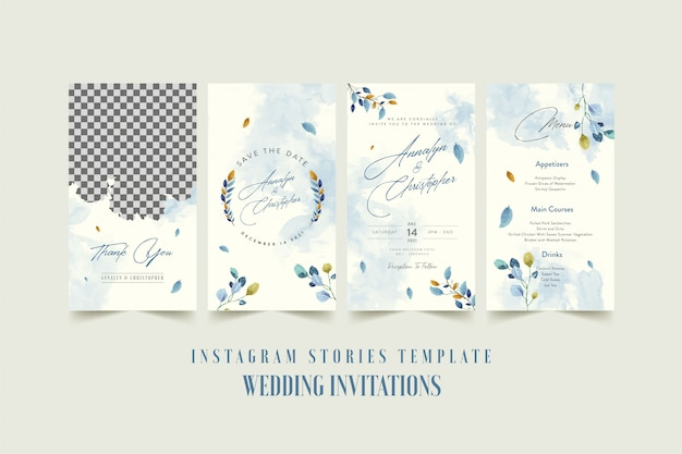 Instagram stories template for wedding invitation card with watercolor flower and leaves