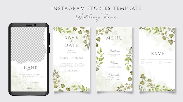 Instagram stories template for wedding invitation theme with floral background