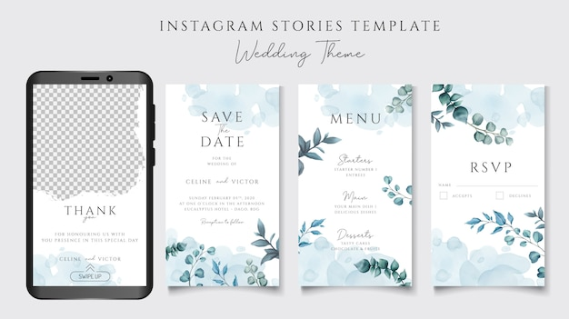 Instagram stories template for wedding invitation theme