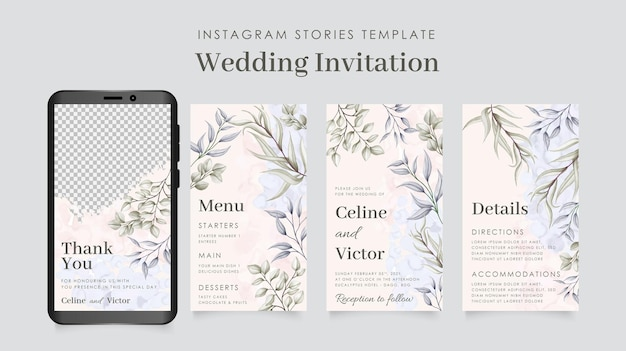 美しい抽象的な葉の背景を持つinstagramの物語テンプレート結婚式の招待状