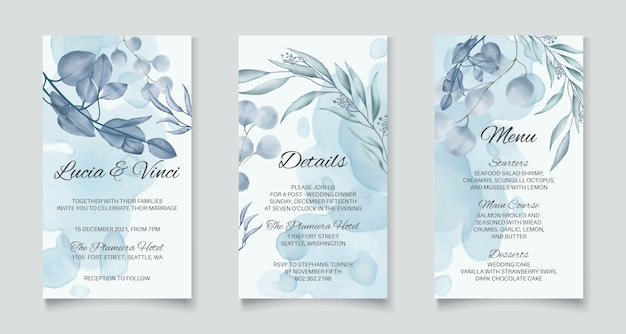 Instagram stories template wedding invitation with blue abstract leaves background