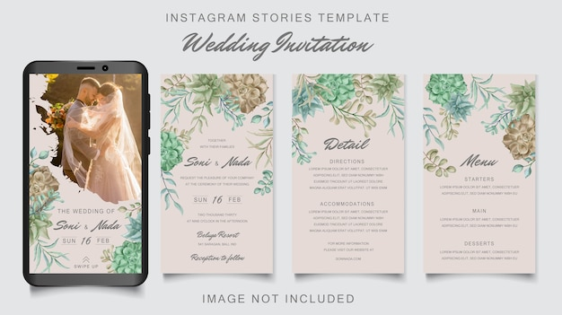 Instagram stories template wedding invitation with colorful succulent frame