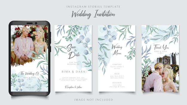 Instagram stories template for wedding invitation with floral background