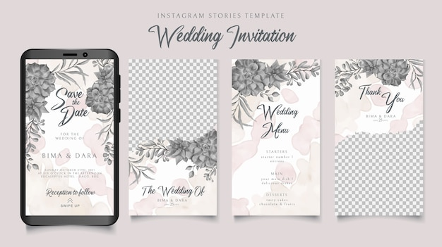 Instagram stories template wedding invitation with watercolor floral background