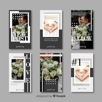 Instagram stories template with abstract shapes