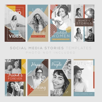 Instagram stories template with quotes and vintage design. editable file