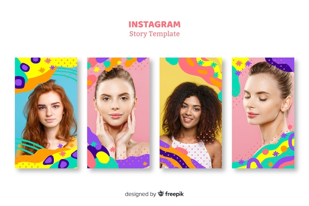 Instagram stories templates with empty frame