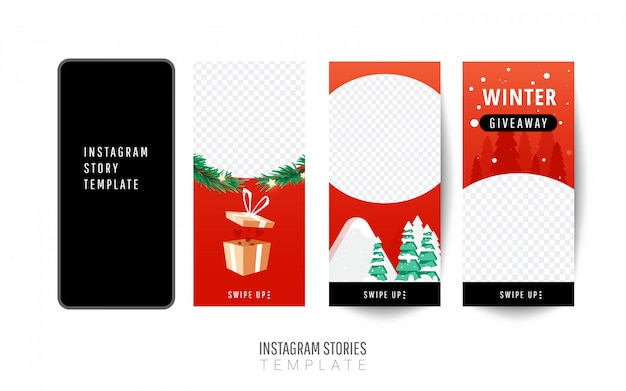 Instagram story template. christmas giveaway with gift boxes, christmas trees