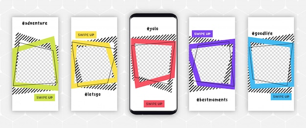 Instagram story template frames - editable story cover design for photos