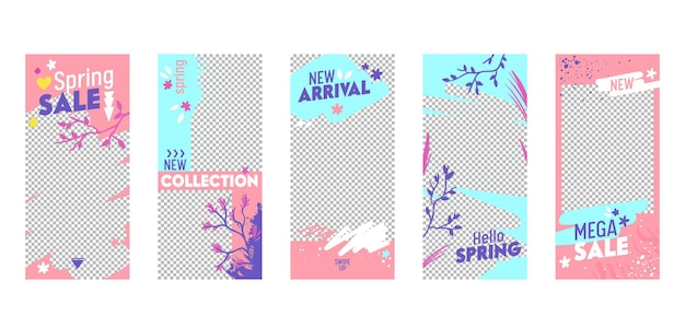 Instagram story template mega spring sale mobile app page onboard screen set.