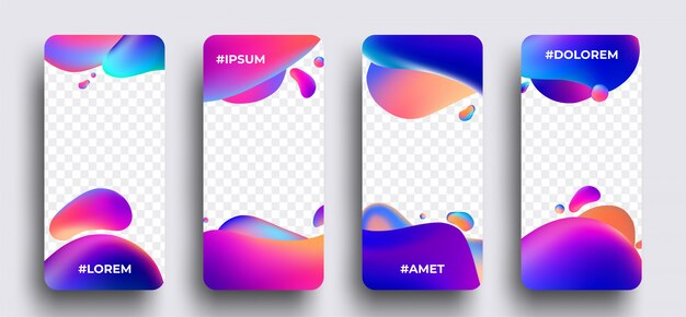 Instagram story template set of photo frames with trendy wave liquid gradient splashes or bubbles.  .