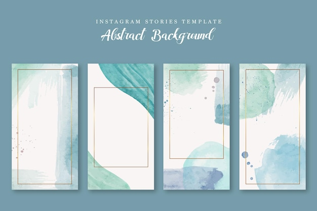 Instagram story template with blue abstract watercolor background