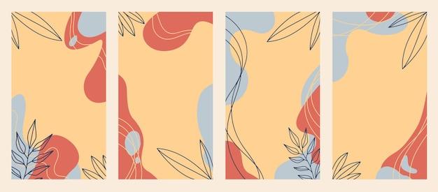 コピースペース付きのinstagramストーリーテンプレート。有機的な形と花のラインアートで設定されたベクトルレイアウト
