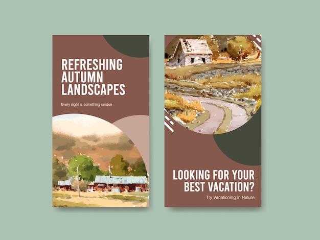 Modello di storia di instagram con paesaggio in autunno design