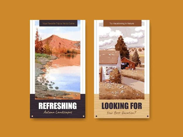 Шаблон истории instagram с пейзажем в осеннем дизайне