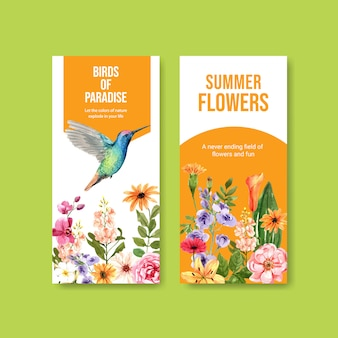 Instagram story template with spring flowers and hummingbird illustration