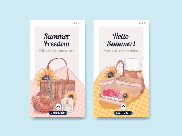 夏のコテージコアコンセプト、水彩スタイルのinstagramストーリーテンプレート