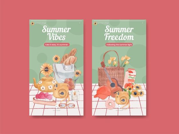 Шаблон истории instagram с концепцией летнего коттеджа, акварель в стиле