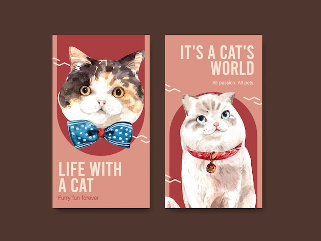 Instagram story templates with cute cats