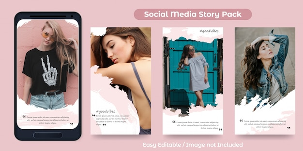 Набор постов instagram story для продвижения моды с орнаментом кисти