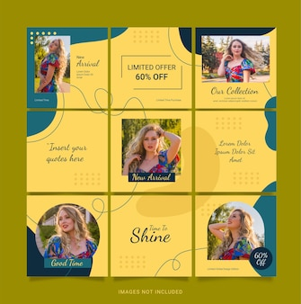 Instagram template fashion 소셜 미디어 퍼즐 피드