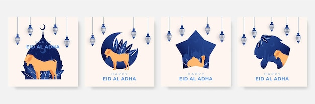 Шаблон instagram или шаблон сообщения в социальных сетях с темой ид аль адха мубарак