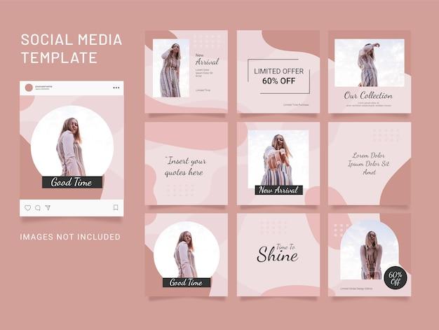 Шаблон instagram пазл опубликовать мода женщины