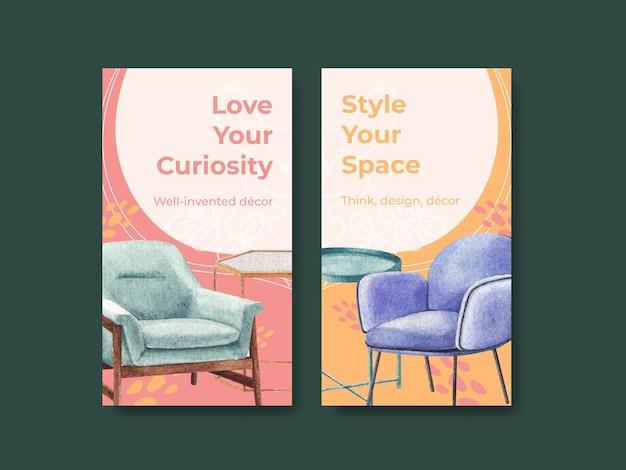 Modello di instagram impostato con mobili di lusso in stile acquerello