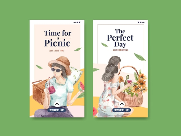 Instagram template set with picnic travel concept