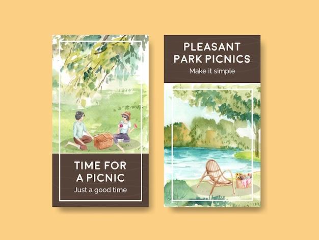 ピクニック旅行のコンセプトで設定されたinstagramテンプレート