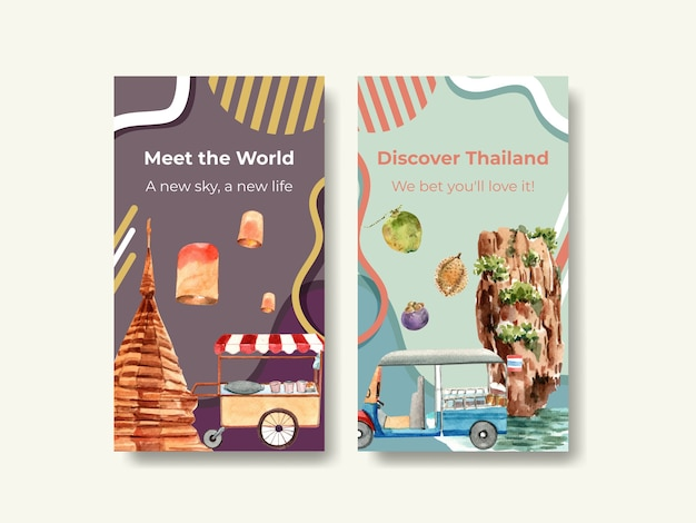 Instagram template set with thailand travel concept for social media in watercolor style