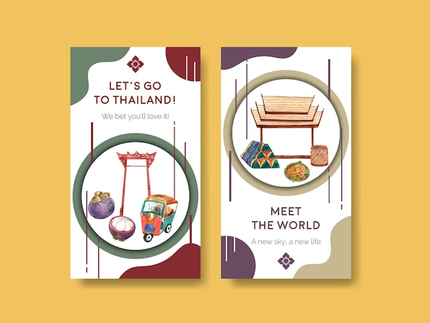 Modello di instagram impostato con il concetto di viaggio in thailandia per i social media in stile acquerello