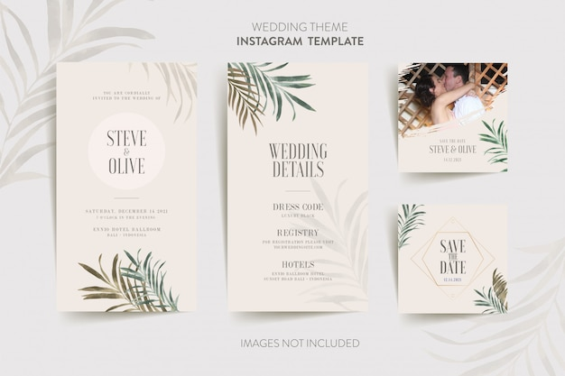 Instagram template for wedding invitation card with tropical flower and leaves