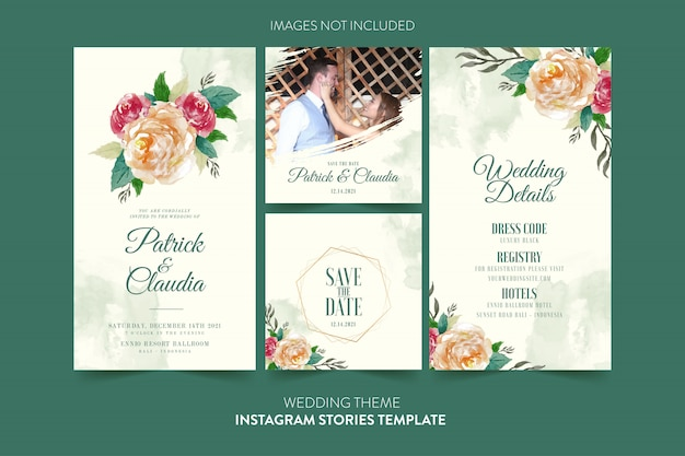Instagram template for wedding invitation card with watercolor flower and leaves