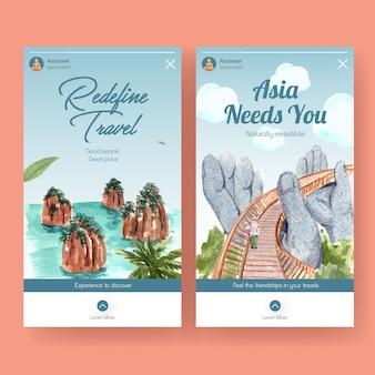 ソーシャルメディアとオンラインマーケティングの水彩ベクトル図のアジア旅行コンセプトデザインのinstagramテンプレート