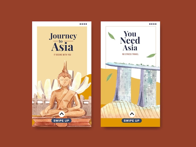 Modello di instagram con concept design di viaggio in asia per social media e illustrazione di vettore dell'acquerello di marketing online