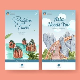 Instagram template with asia travel concept design for social media and online marketing watercolor vector illustration