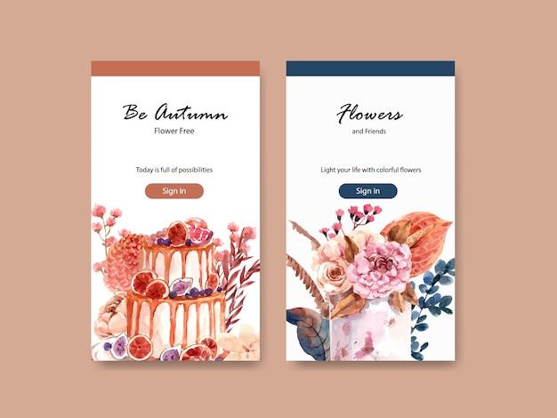 ソーシャルメディアとデジタルマーケティングの水彩イラストの秋の花のコンセプトデザインのinstagramテンプレート。