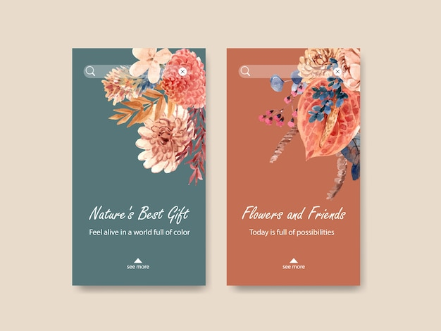 Instagram template with autumn flower concept design for social media and digital marketing watercolor illustration.
