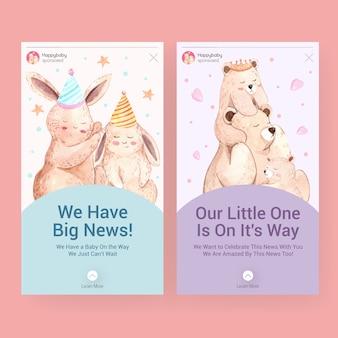 소셜 미디어 수채화 벡터 일러스트 레이 션에 대 한 베이비 샤워 디자인 개념 instagram 템플릿.