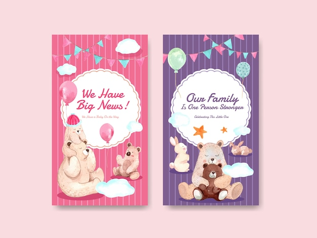Instagram template with baby shower design concept for social media  watercolor vector illustration.