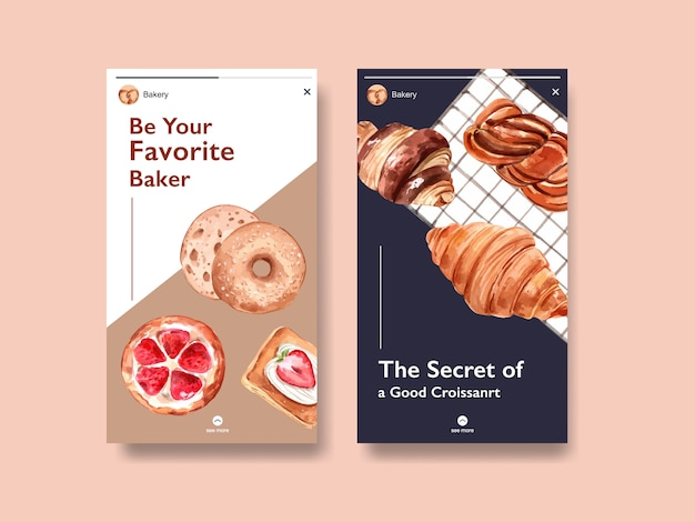 Instagram template with bakery watercolor illustration