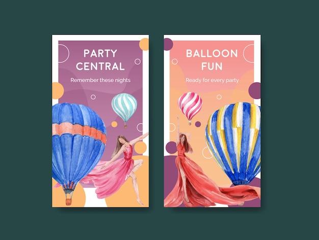 オンラインマーケティングとソーシャルメディアの水彩イラストのためのバルーンフィエスタコンセプトデザインのinstagramテンプレート