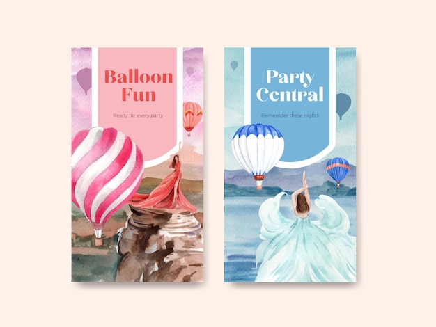Instagram template with balloon fiesta concept design for online marketing and social media watercolor illustration