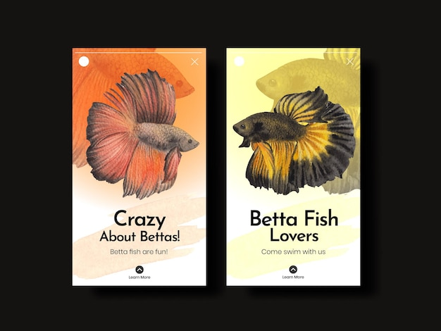 Instagram template with betta fish in watercolor style