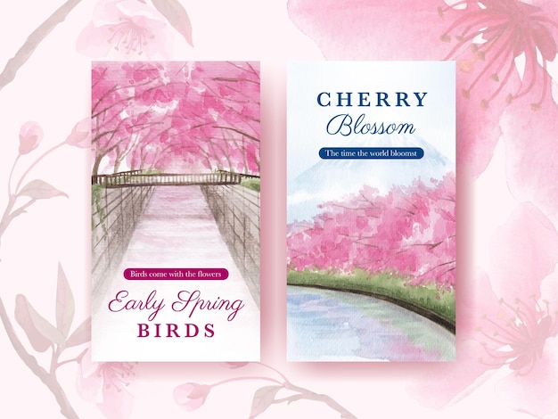 Instagram template with blossom bird concept design watercolor illustration