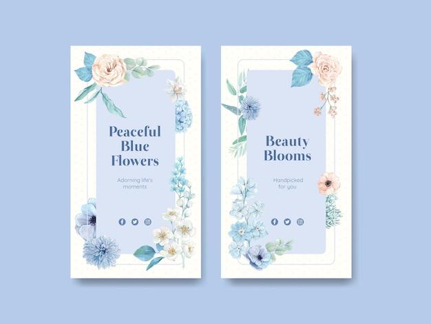 Modello di instagram con il concetto pacifico del fiore blu,stile dell'acquerello