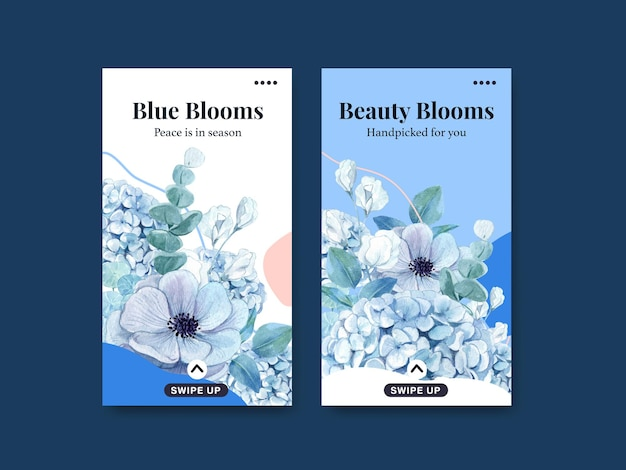 Instagram template with blue flower peaceful concept,watercolor style
