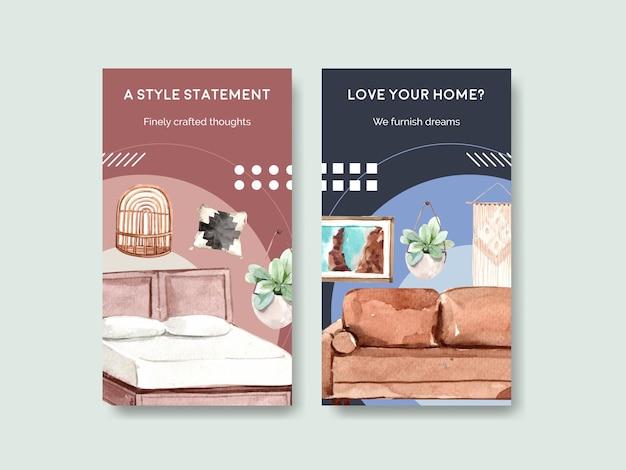 ソーシャルメディアとオンラインマーケティングの水彩イラストのための自由奔放に生きる家具のコンセプトデザインとinstagramのテンプレート