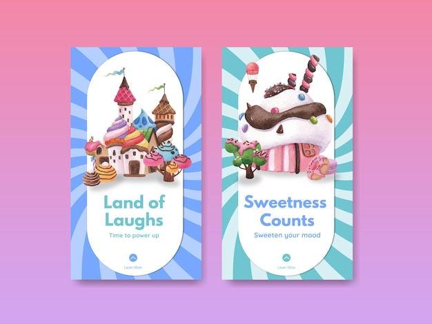 Instagram template with candy land concept design watercolor illustration